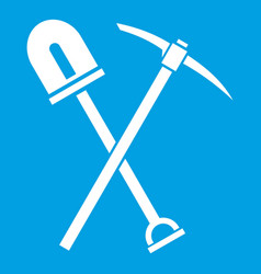 shovel and pickaxe icon white vector image