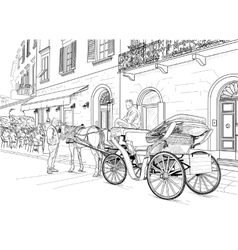 Sketch of a carriage in the street vector