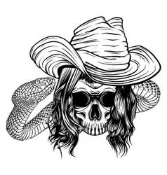 Skull king with snake design vector