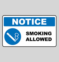 smoking allowed icon round blue sign with white vector image