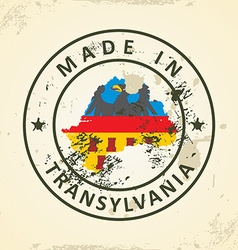 Stamp with map flag of Transylvania vector