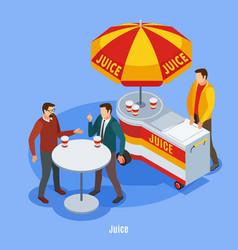 street vending isometric background vector image