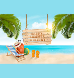 Summer vacation concept background travel items vector