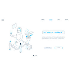technical support - line design style isometric vector image