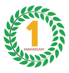 Template Logo 1 Anniversary in Laurel Wreath vector image
