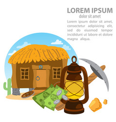 Thatched hut goldfield pick and oil lamp design vector