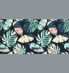 Tropical seamless pattern with abstract leaves vector