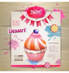Vintage cupcake poster design vector image