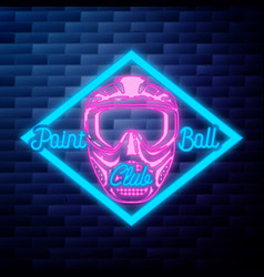 Vintage dental emblem glowing neon sign on brick vector