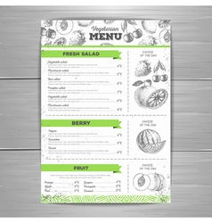 Vintage grunge vegetarian food menu design vector