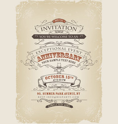 Vintage invitation poster vector