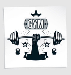 Weightlifting club promotion flyer strong vector