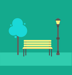 wooden bench abstract tree and street lamp vector image
