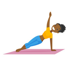 Young african-american woman holding a side plank vector