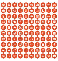 100 book icons hexagon orange vector image vector image