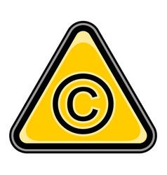 copyright sign triangular sticker vector image vector image