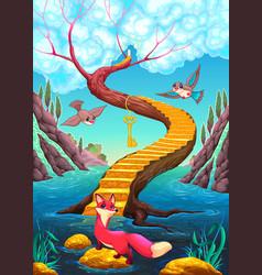 golden stair vector image