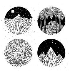hand drawn nature set vector image vector image