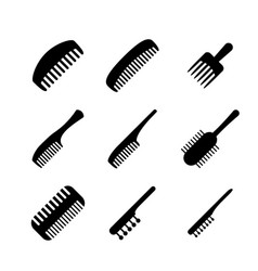 set of hair comb icons in silhouette style vector image