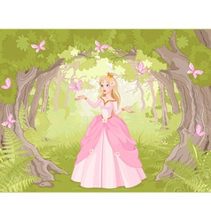 Strolling princess in the fantastic wood vector image vector image