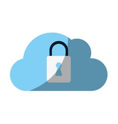 cloud locked padlock vector image vector image