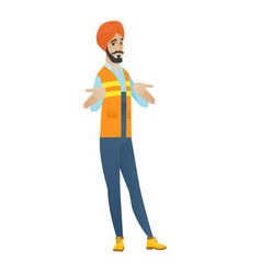 confused hindu builder shrugging shoulders vector image vector image