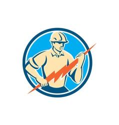 Electrician Holding Lightning Bolt Circle Retro vector image