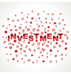 Investment word with in alphabets vector image