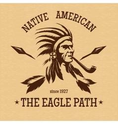 Native american indian vintage print vector