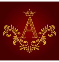 Patterned golden letter A monogram in vintage vector image
