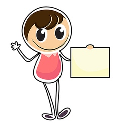 A sketch of a person holding an empty signage vector image vector image