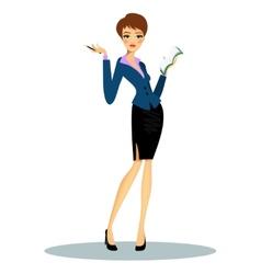 Cartoon female secretary taking notes on agenda vector image vector image