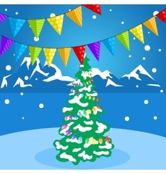 Christmas decorations on a background of winter vector image vector image
