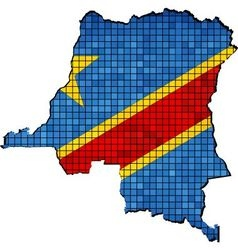 Democratic Republic of the Congo map with flag vector image
