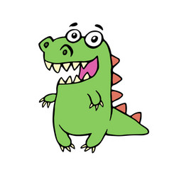 funny smiling dinosaur vector image vector image