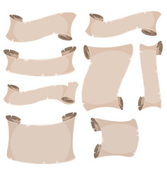 parchment scroll and banners set vector image