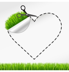 scissors cut heart sticker Green grass vector image