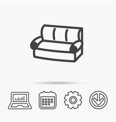 Sofa icon comfortable couch sign vector