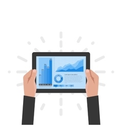The tablet in the hands of a businessman with vector image
