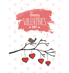 valentine bird with card vector image