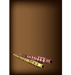 A Musical Flute on Dark Brown Background vector image