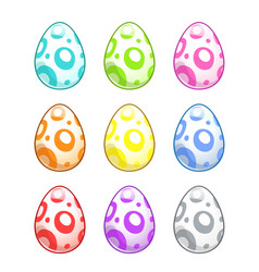 cute colorful painted eggs set vector image