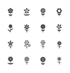 flowers icons set vector image vector image
