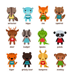 set of isolated cartoon baby animals vector image vector image