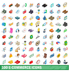 100 e-commerce icons set isometric 3d style vector image vector image