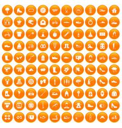 100 shoe icons set orange vector