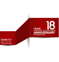 18 years anniversary design with red and white vector