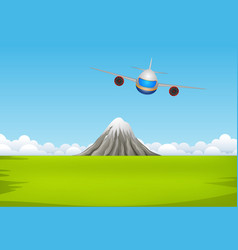 a commercial plane flying over mountain vector image