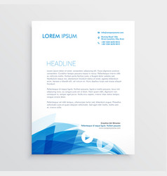 abstract blue letterhead design template vector image vector image