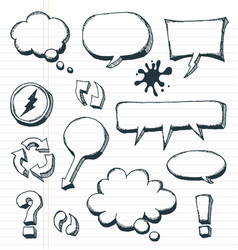 Arrows speech bubbles and doodle elements set vector